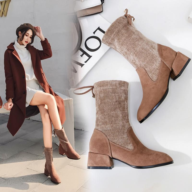 0cadee36e3f Charm2019 Fleece Knitted Sock Boots Brand Qualited Block High Heel Short  Botas Mid-calf Laces Martin Botte Femme Ladies Shoes Online with   105.07 Pair on ...