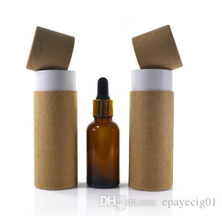 100ml glass dropper bottle packaging box amber cardboard kraft paper tube  cylinder round boxes Printing service custom printed