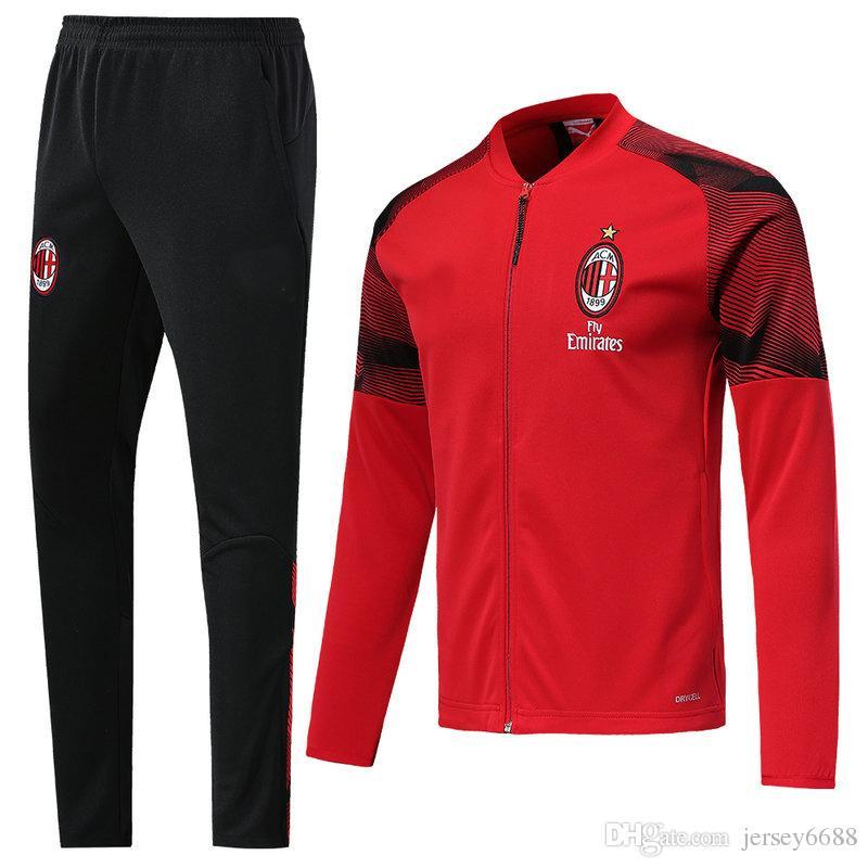 f308e1efd387a Compre AC Milan 18 19 Chándal De Fútbol 2018 2019 Fútbol Chaqueta De  Entrenamiento Chaqueta HIGUAIN KESSIE CUTRONE Camisa CALHANOGLU BONAVENTURA  Maillot A ...