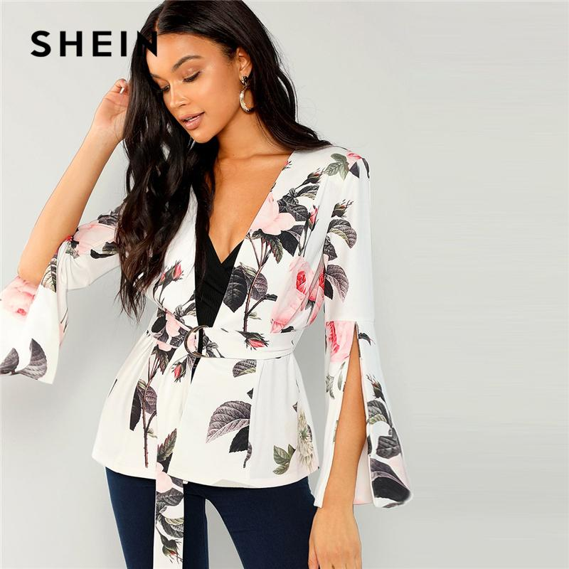 0698681319 2019 SHEIN Multicolor Floral Split Sleeve Belted Outerwear Elegant Workwear  Long Sleeve Wrap Blazer Women Autumn Office Ladies Coats From Stylefisher,  ...