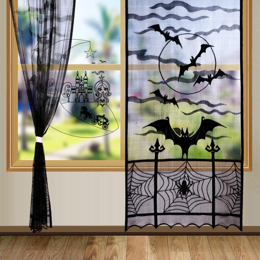 Modern Window Curtain For Halloween Black Bat Spider Web Valance Tulle Fabrics Window Door Curtain Home Decoration