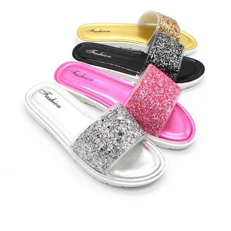 83eeeb250b47 Summer Female Outdoor Sequin Slippers For Women Wedges Beach Flip Flops  Fashion Ladies Indoor Flat Comfortable Sandals Winter Boots Cowgirl Boots  From ...