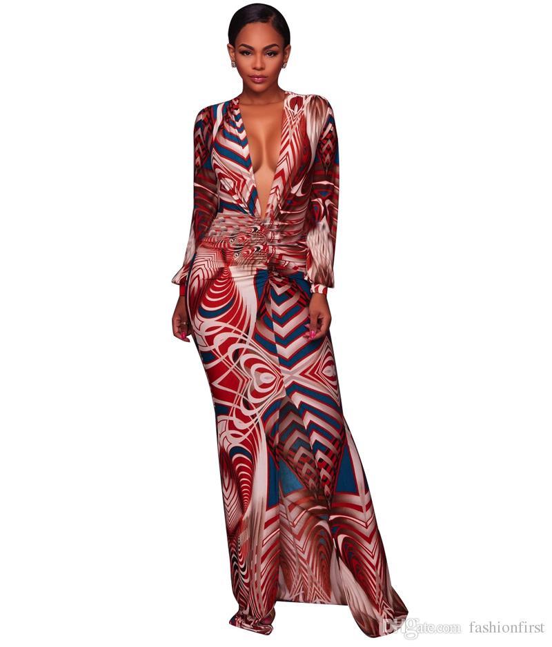 34fab26dc3 Vestito africano dalla stampa africana delle donne del vestito tradizionale  dalla manica lunga comoda africana comoda di autunno Abbigliamento libero  ...