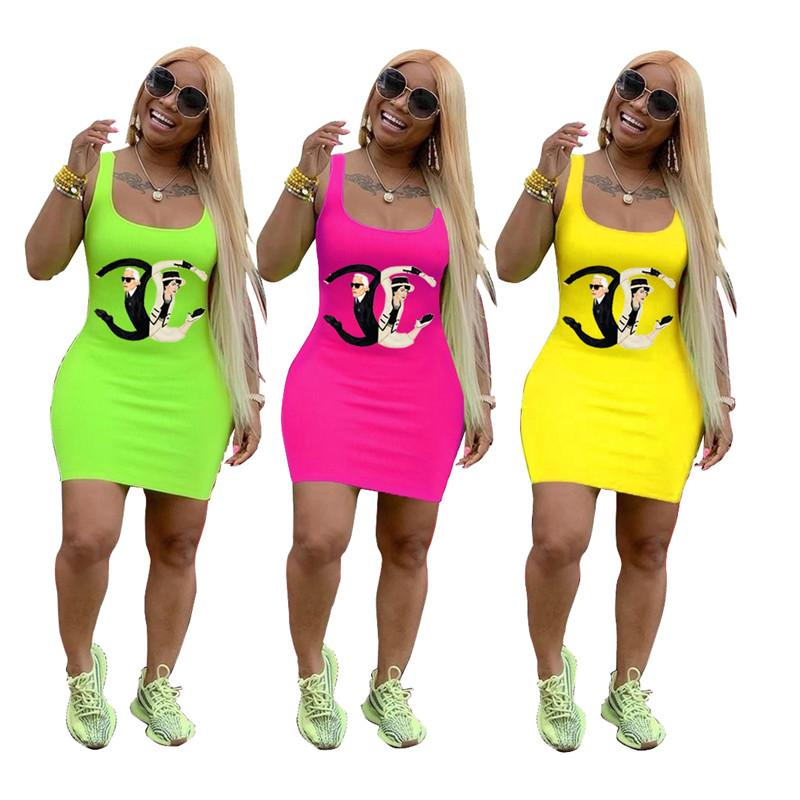 2019 abiti estivi donna firmati Spoof Abiti aderenti di marca lunghi Canotta Gonna colorata Mini abito tunica per Lady Party Club Wear C71108