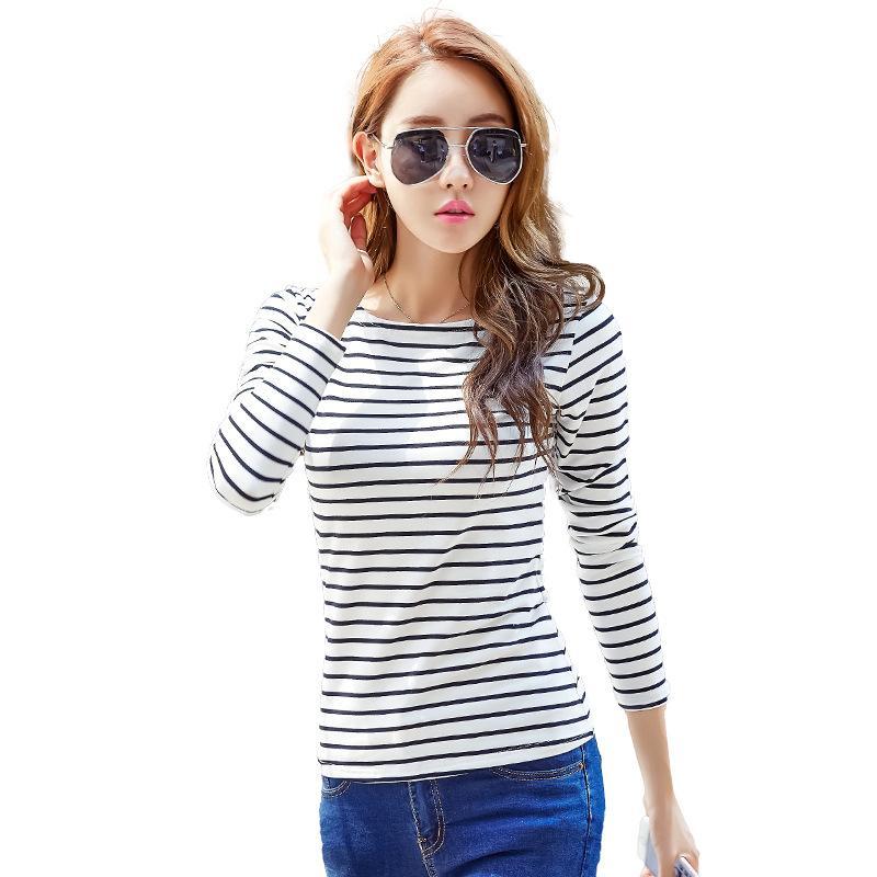 c3211c80cb6b Soperwillton Camiseta de algodón Mujer 2019 Nueva primavera otoño O-cuello  de manga larga con rayas camiseta femenina blanca Casual Basic Classic Tops