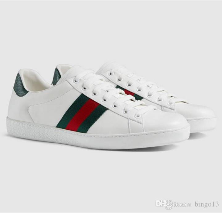 a11f82af1 INS HOT Branded Men White Leather Sandals Fashion Women Green Red Rubber  Sole Shoes With Box Basketball Shoes Mens Shoes From Bingo13