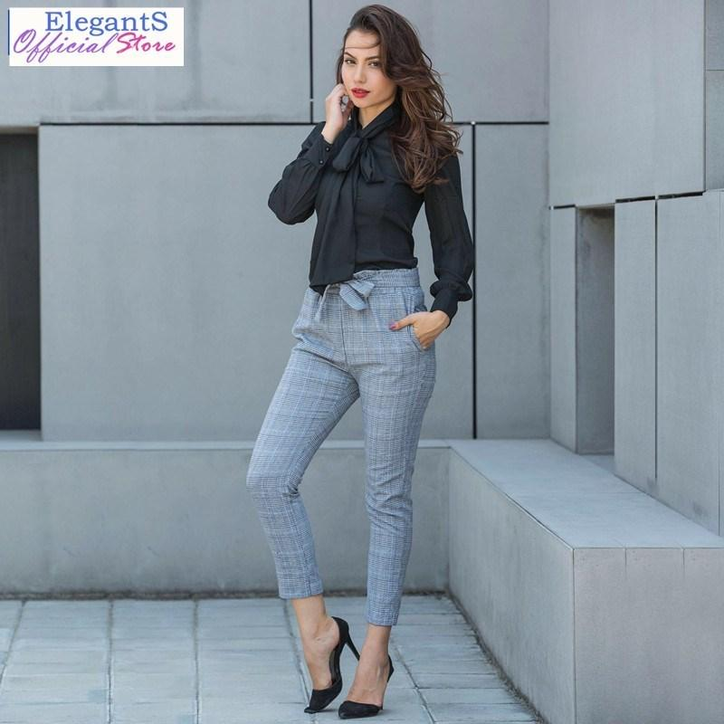 e6cf11ce5d9 2019 2019 Women High Waist Plaid Pattern Office Lady Work Trousers Ankle  Length Fashion Casual Pencil Pants Large Size Clothing C19040401 From  Linmei0006