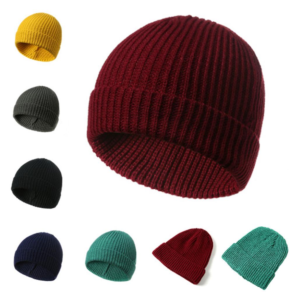a1cceb99 Wool Men's Winter Hats 2018 Fashionable Knit Black Hats Autumn Thick and  Warm Skullies Peas Soft Knitted Woolen Cotton