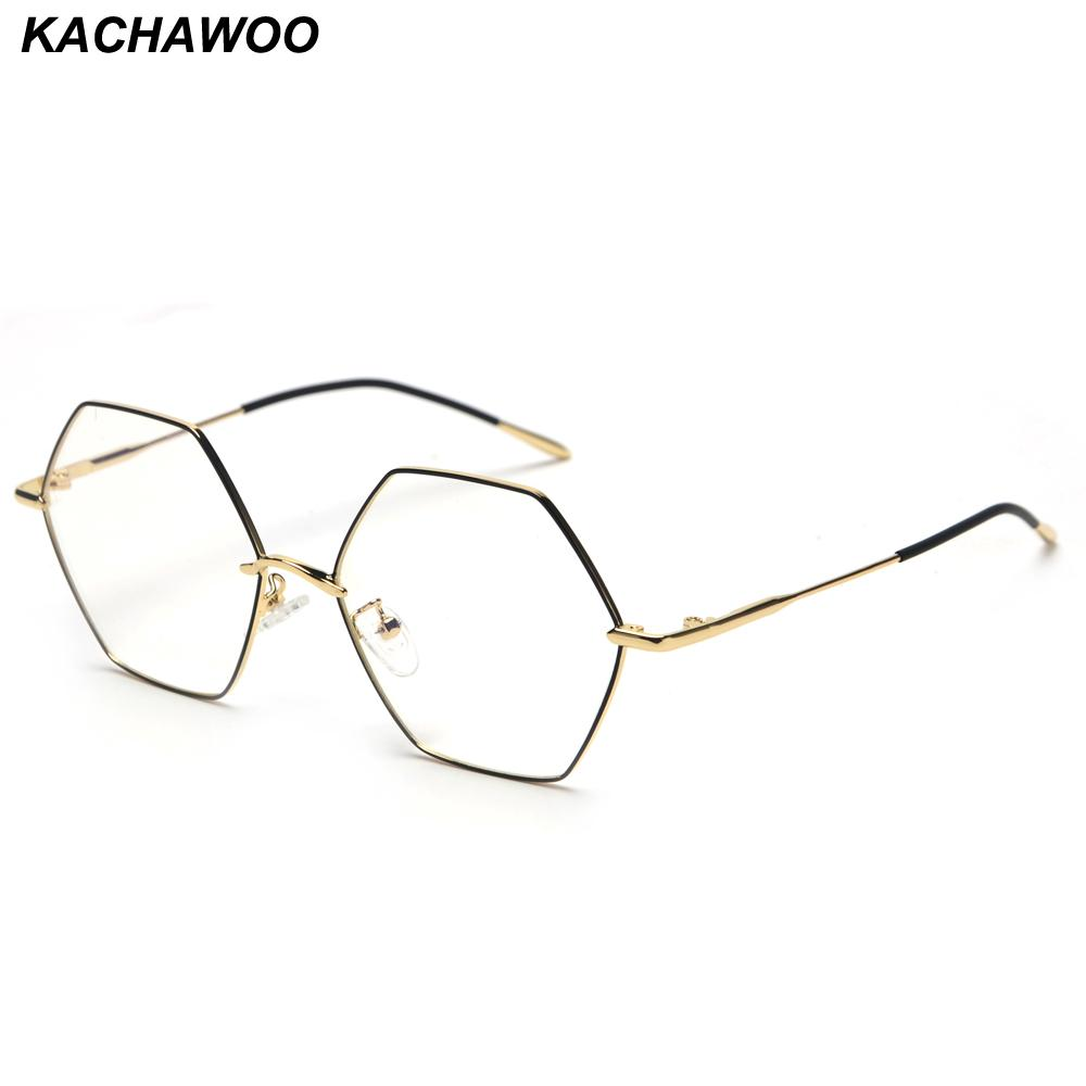 6a3a0538391e 2019 Kachawoo Vintage Hexagon Eyeglasses Frames Men Clear Lens Gold Metal  Fashion Glasses Women Optical Unisex Birthday Gift From Marquesechriss, ...