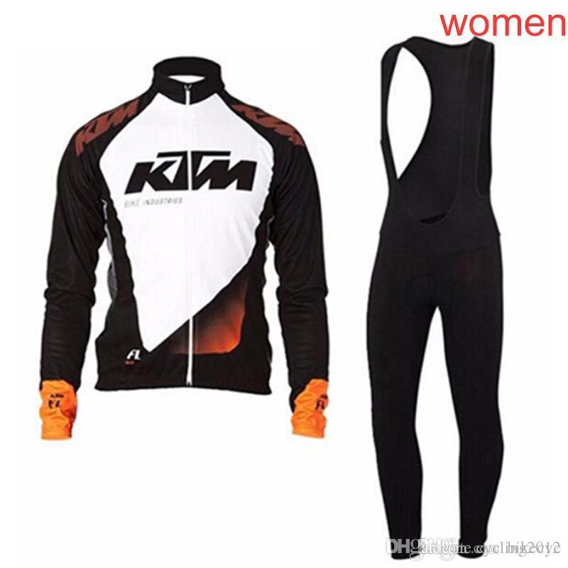 KTM team Cycling long Sleeves jersey(bib)pants sets women Hot Indispensable High Quality mtb Bike Sportswear Ropa Ciclismo C2025