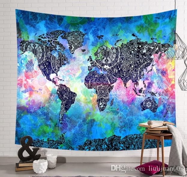 Hot export decorative murals hanging cloth World map series art wall  painting Bedroom living room decoration tapestry 203x150