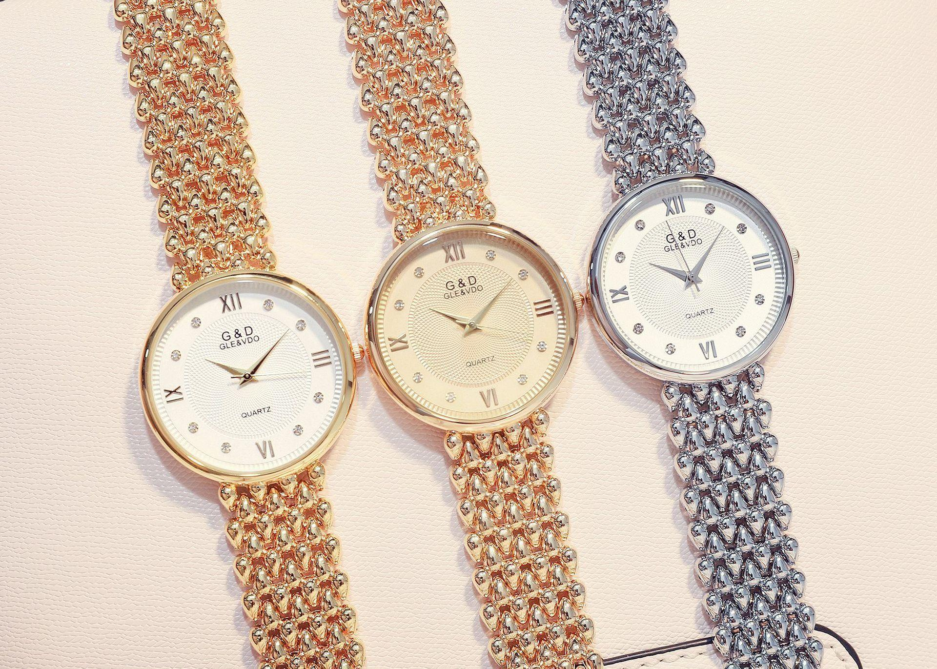 Bracelet Surface Quartz Watch Diamond G & D Men And Women Steel Sheet Bring Surface Disc Watches