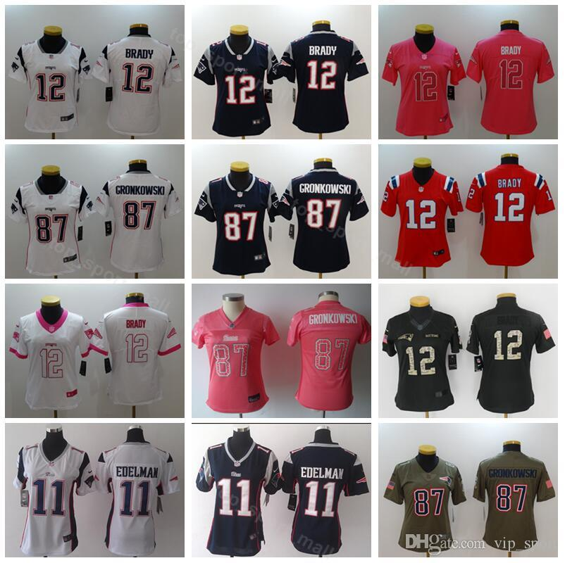cheap for discount ff3ab c987f Women Tom Brady Jersey 12 Patriots Lady 11 Julian Edelman 87 Rob Gronkowski  Woman Football Jerseys Dark Blue Red White Pink Sault to service