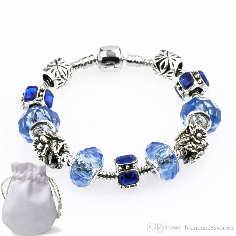 7ee91bb23a765 Sapphire Crystal Beads Charm Bracelets Bangles Fit Pandora Silver Plated  Women Fashion Brand Navy Gemstone Diamond Alloy Accessories P43