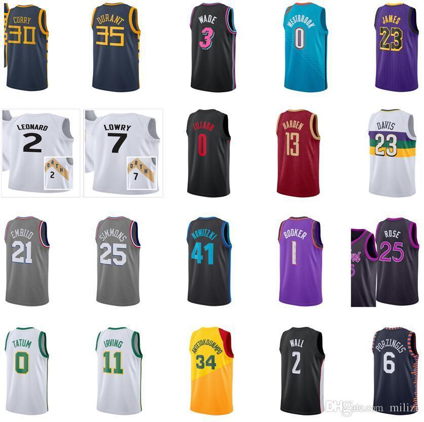 032dfd99df5 2019 2018 2019 New City Edition Lillard George Westbrook Wall Davis  Nowitzki Doncic Wade Irving Leonard Butler Harden Curry Durant Jersey From  Diana shop