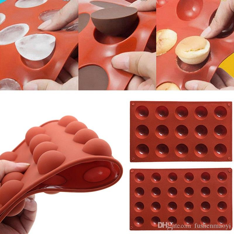 Half Ball Sphere Silicone Cake Mould Muffin Chocolate Cookie Baking Mould Modelling Tools Deep Brown 24 Half-balls