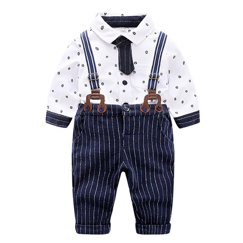 9ce72f1f55c1 Acquista Baby Boys Tie Gentleman Suit Abbigliamento Set Formale Bambino  Camicia Bianca A Righe Pantaloni Usura Formale Matrimonio Baby Boy Costume  Bambino A ...