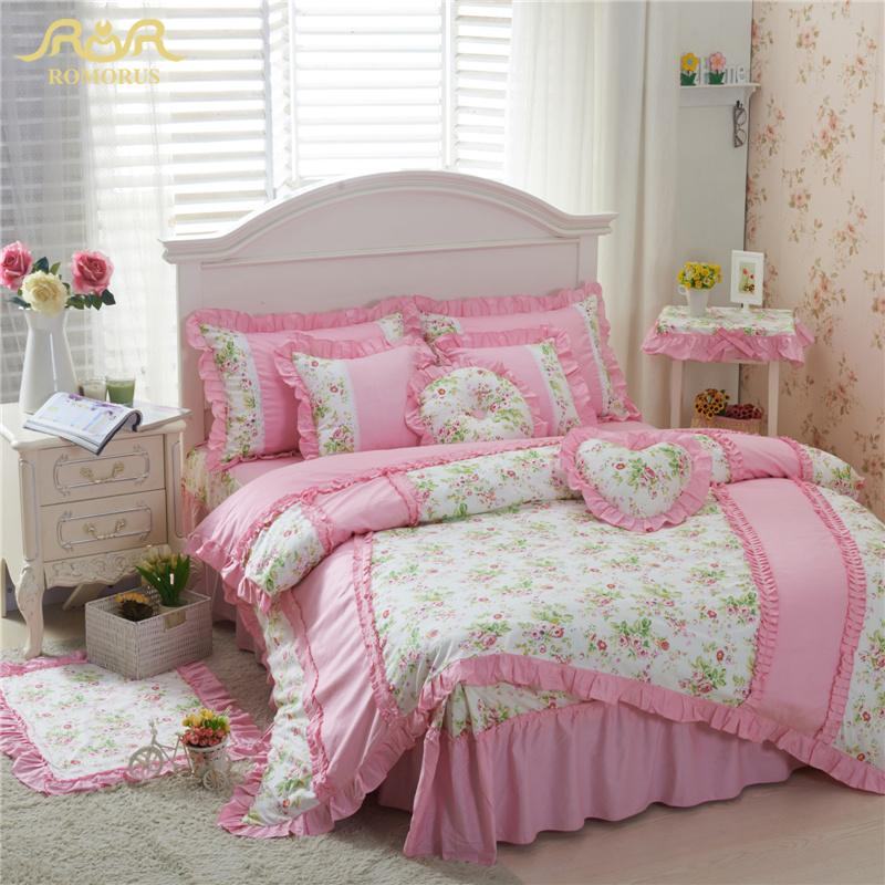 ROMORUS 100% Cotton Pink/Green Beautiful Korean Princess Bedding Set 4 pcs for Girls Queen King Size Bed Skirt Duvet Cover Sets