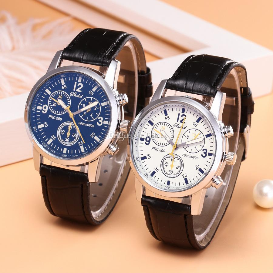 New Luxury Fashion Faux Leather Watches Mens Blue Ray Glass Quartz Analog Watch Men Wristwatch Clock