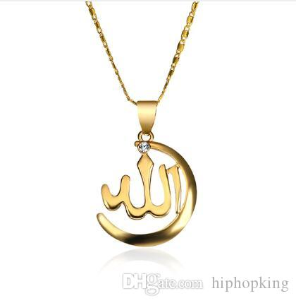 2d878c15ff420 New Gold-Color Necklace Women/ Men Jewelry Rhinestone Religion Muslim Islam  Moon Necklaces & Pendants For Arab Name