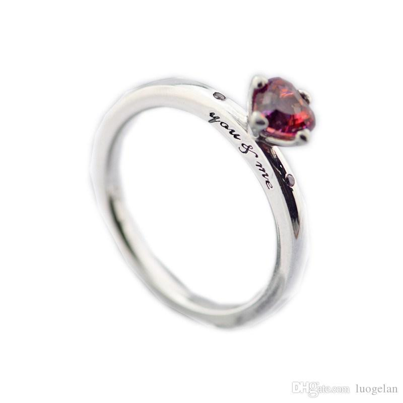 Authentic 925 Sterling Silver Pandora Ring You & Me Ring, Multi-Colored Ring For Women Original Fashion Charms European Style Jewelry