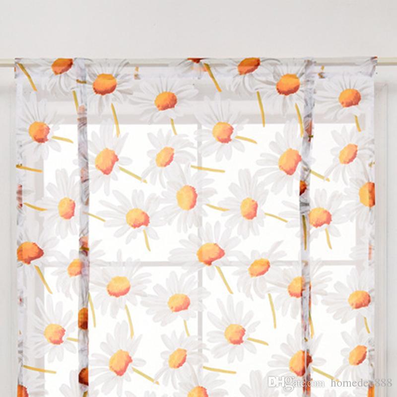 Multi Größen Vorhang Wohnzimmer Tüll Moderne Schattierungen Blume Gedruckt  Vorhang Kurze Gardinen Fenster Drapieren Volant Wohnkultur VT0899-1