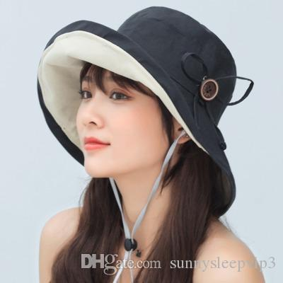 Pure color 2019 contracted the new summer in the south Korean big double fisherman hat caps sun hat leisure joker caps