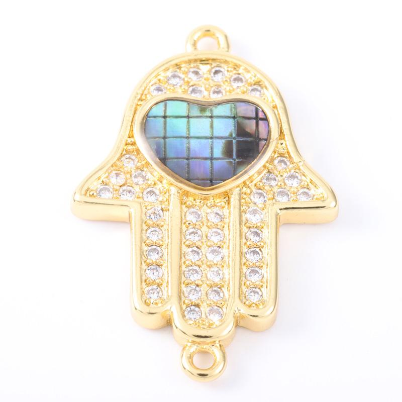 Singreal Abalone Shell Micro Pave Evil Eye Heart Charms Bracelet necklace Choker Pendant connectors for women DIY Jewelry making