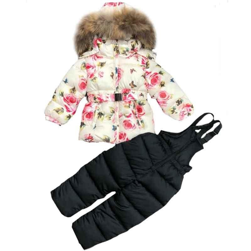 c8b3bf2a3e09 2019 Winter Clothing Set For Girls Flowers Down Coat +Overalls Suits ...