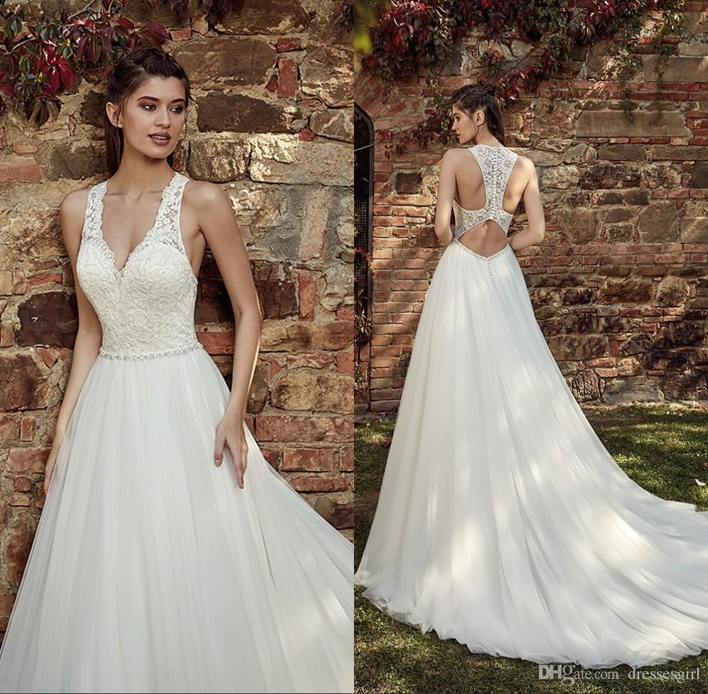 d8810cd963 Discount 2019 Designed Back V Neck Wedding Dresses Lace Appliques A Line  Bridal Gown Floor Length Tulle Robe De Mariee Wedding Gown Designs  Alternative ...