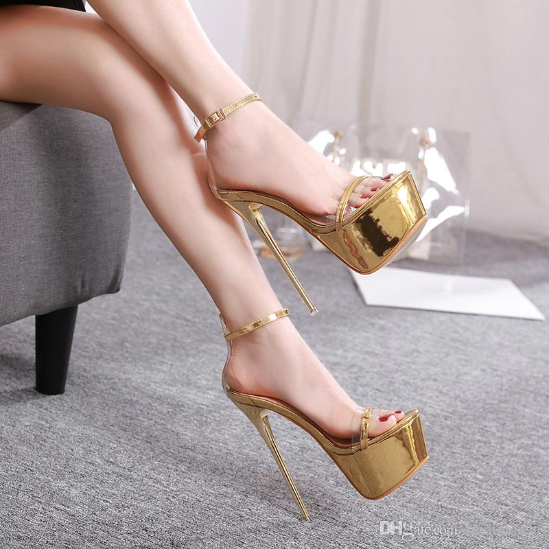 16cm Sexy bridal wedding shoes gold heels woman designer high heel sandals shoes prom gowmn dress shoes size 34 to 40