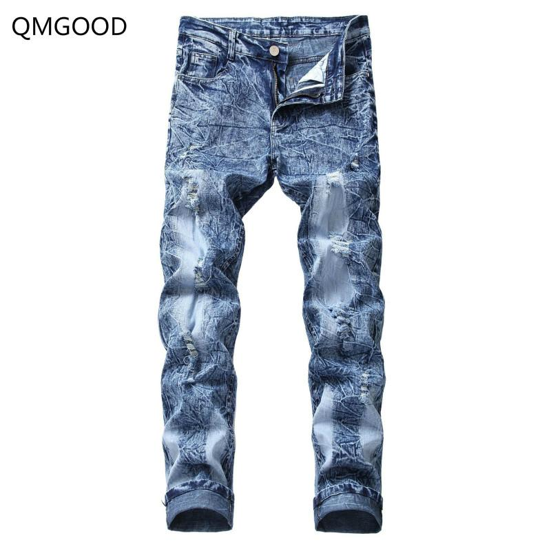 QMGOOD 2019 Fashion Brand Distressed Jeans Mens Jeans Brand Stretch Ripped for Men Biker Denim Pants Men Urban Clothes 42
