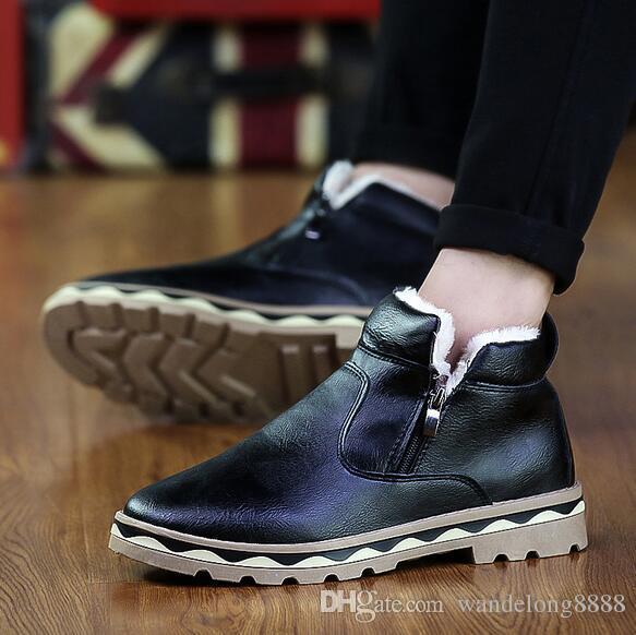 b818b4b3019eae Freies Verschiffen neue heiße Schnee Stiefel Männer Casual Martin Stiefel  koreanische Version des Trends der Herren Stiefel plus Baumwolle Haut  Großhandel ...