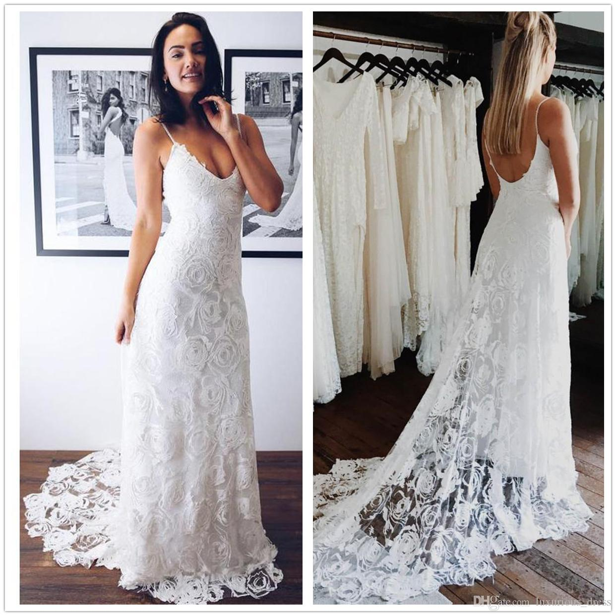 281bdab546e69 Discount Vintage Lace Wedding Dresses Sexy Deep V Neck Backless Bohemia  2019 Wedding Gowns Court Train Long Bridal Dress Robe De Mariée A Line Dress  .