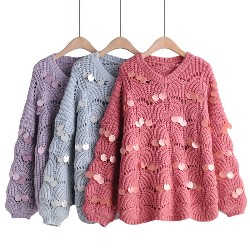 OMIKRON Women O Neck Solid Women Sweaters Pullovers Loose Knitted Autumn Winter Clothing Casual Sequins Pullovers Plus Size Pull