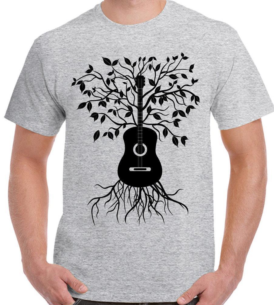 Acoustic Guitar Tree - Mens T-Shirt Electric Bass Amp Strings U2 Rock Music  funny 100% Cotton t shirt harajuku Summer 2018 tshirt