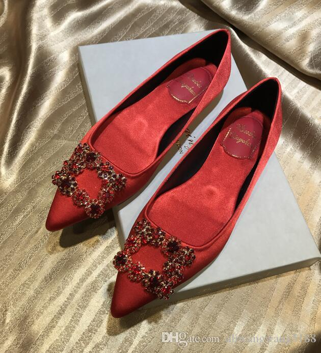 baa4471385a 2019 Wedding Women Fashion Black Blue Rhinestone Silk Satin Poined Toes  Flats Shoes Dress Shoes Flat Heel Shoes Loafer Pump Loafers Mens Boots From  ...