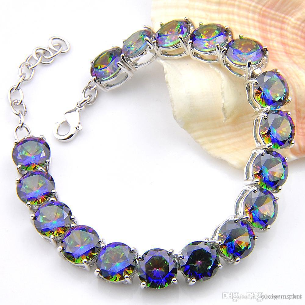 Hot Hot-Sales Luckyshine 6Pcs/Lot Round Mystic Colorful Stone Topaz 925 Sterling Silver Plated Silver Chain Bracelets Bangles Women Jewelry