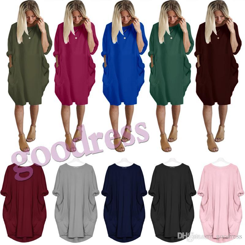 276ab82d7 Summer Women Dresses Pocket Loose Casual Long Sleeve Dress Autumn ...