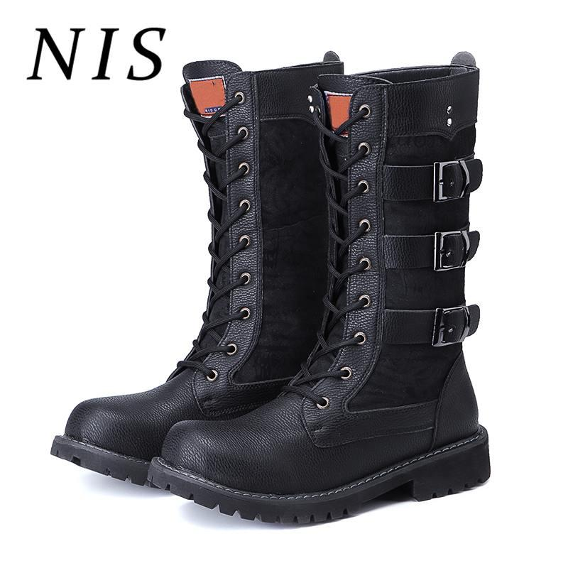 1e3bc4fe6ca3 NIS Big Size Male Fashion Motorcycle Boots Men Shoes Spring Autumn PU  Leather Lace-up Mid-calf Boots Three Buckle Man Shoes New Motorcycle Boots  Cheap ...
