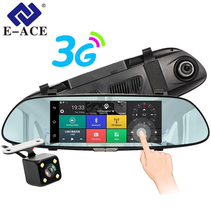 "E-ACE 3G 7"" Touch Car DVR Camera GPS Bluetooth Dual Lens Rearview Mirror Android 5.0 Video Recorder Full HD 1080P Auto Dash Cam"