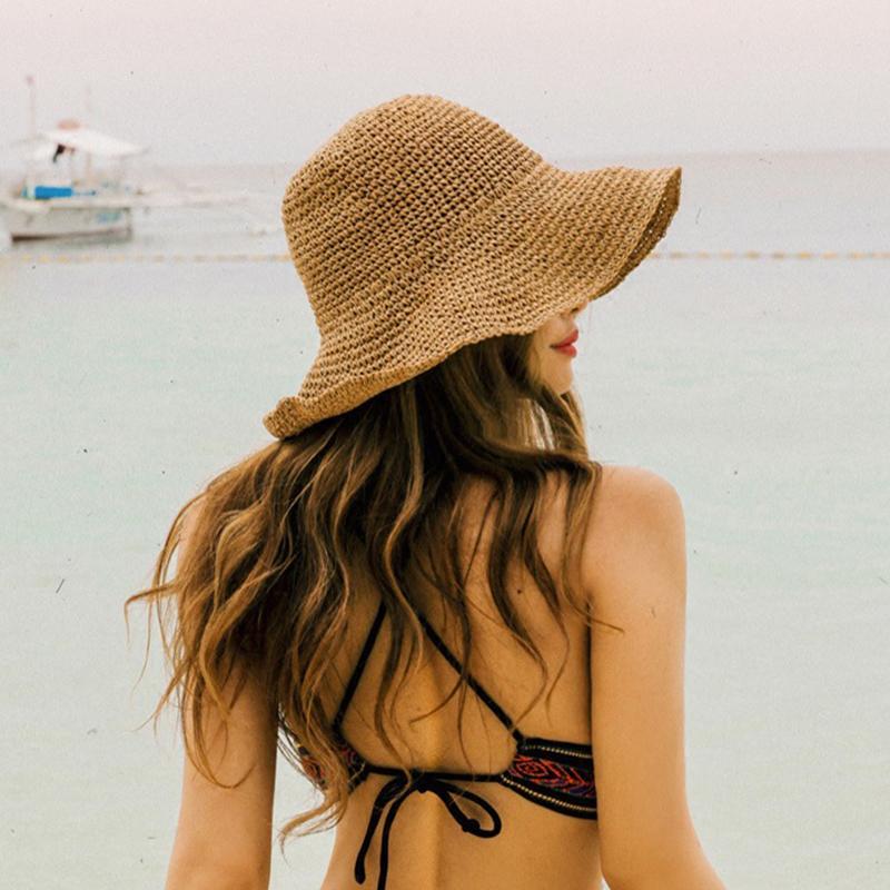 Compre Elegantes Sombreros De Verano Sombreros Plegables De Sun Beach  Panamá Sombrero De Paja Ancho De Onda Sombrero Al Aire Libre Plegado  Sombrero De Rafia ... 3c2b885d51ff