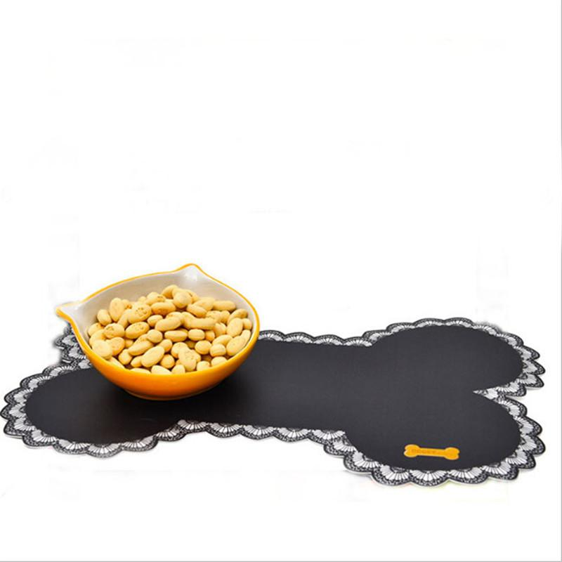 Bone-shaped Pet Feeding Mats Non-slip Pet Dogs Cats Bowl Mat Pad Food Water Bottle Feeding Placemat Pet Supplies QW972845 D19011201