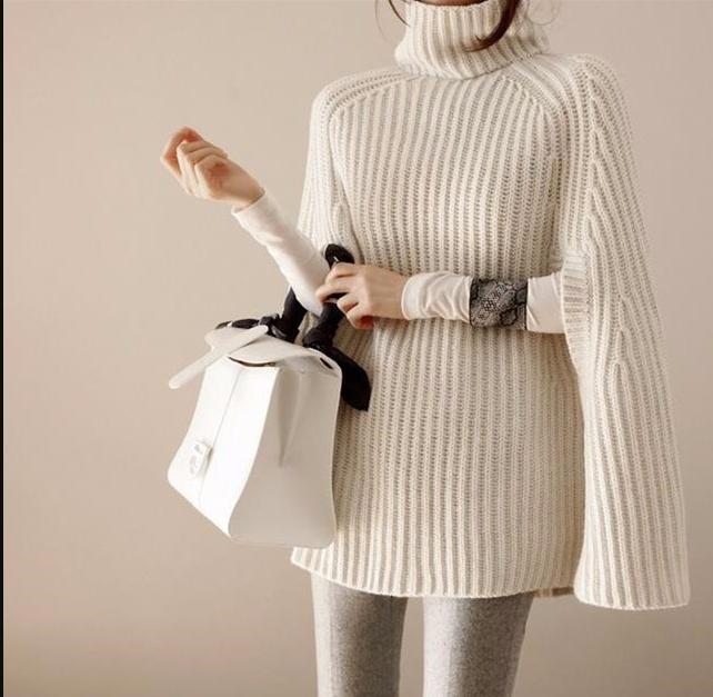 f168ebb08ec33 Women Turtleneck Sweater Pullover Female Oversize Blouse Winter Batwing  Sleeve Knitted Poncho Autumn Knitting Shrug Outerwear Online with   50.87 Piece on ...