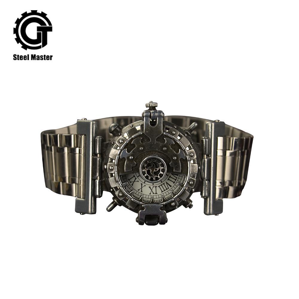 34ab93976dbc Compre 2019 Mujeres Hombres Reloj Steampunk Personalidad Reloj Hombre Flip  Creativo Retro Rock Industria Viento Fresco Mesa A  69.19 Del Htiancai