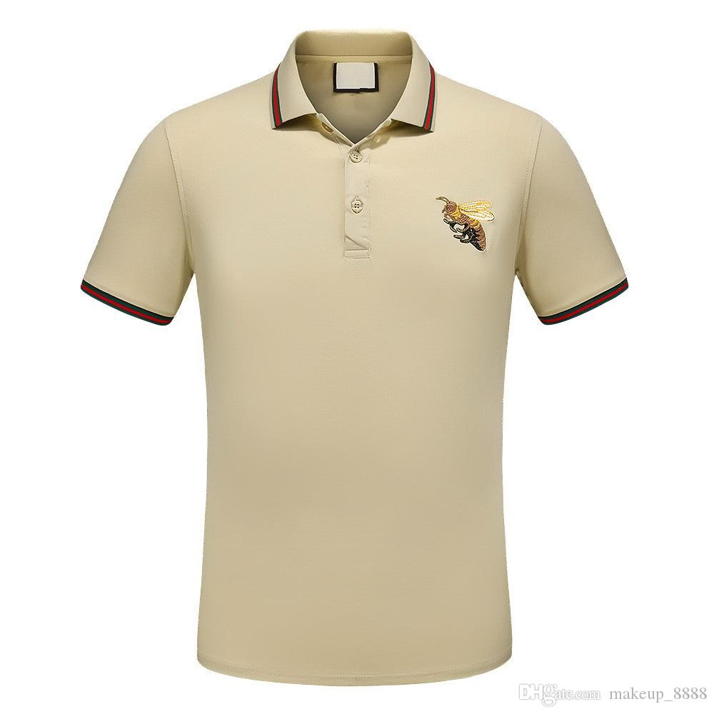 Beige Colors Mens T Shirts Brand Fashion Cotton Casual Bee Pattern