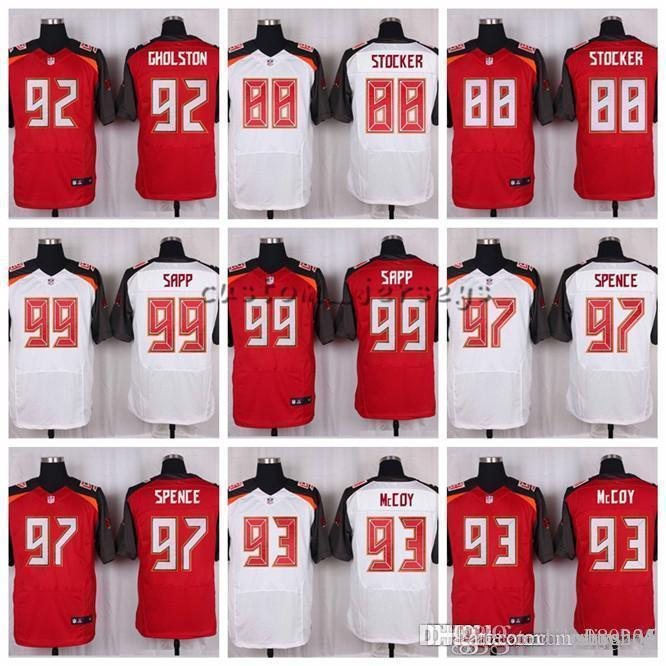 wholesale dealer eb5e2 22f9e Tampa Bay Buccaneers #99 Warren Sapp 97 Akeem Spence 93 Gerald McCoy 92  William Gholston 88 Luke Stocker Elite Football Jerseys