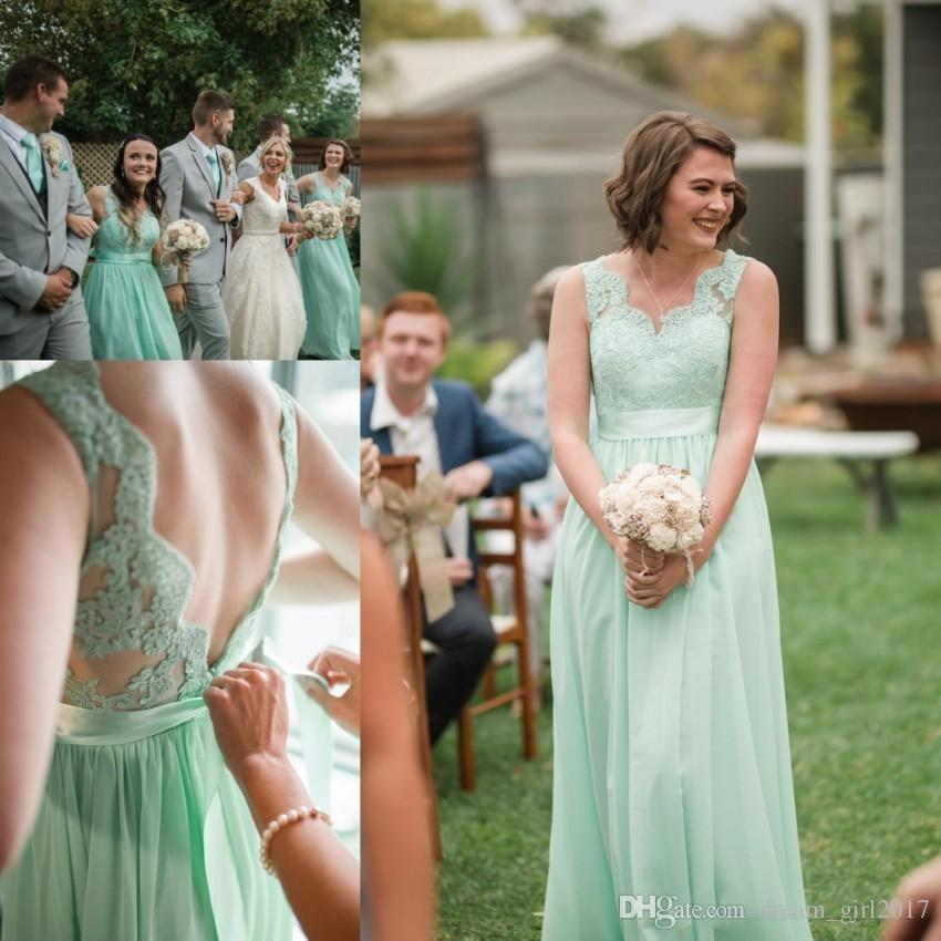 33f36e33737 Mint Green Lace Chiffon Bridesmaid Dresses Backless With Sash Floor Length  Wedding Guest Dress For Summer Boho Weddings Champagne Coloured Bridesmaid  ...