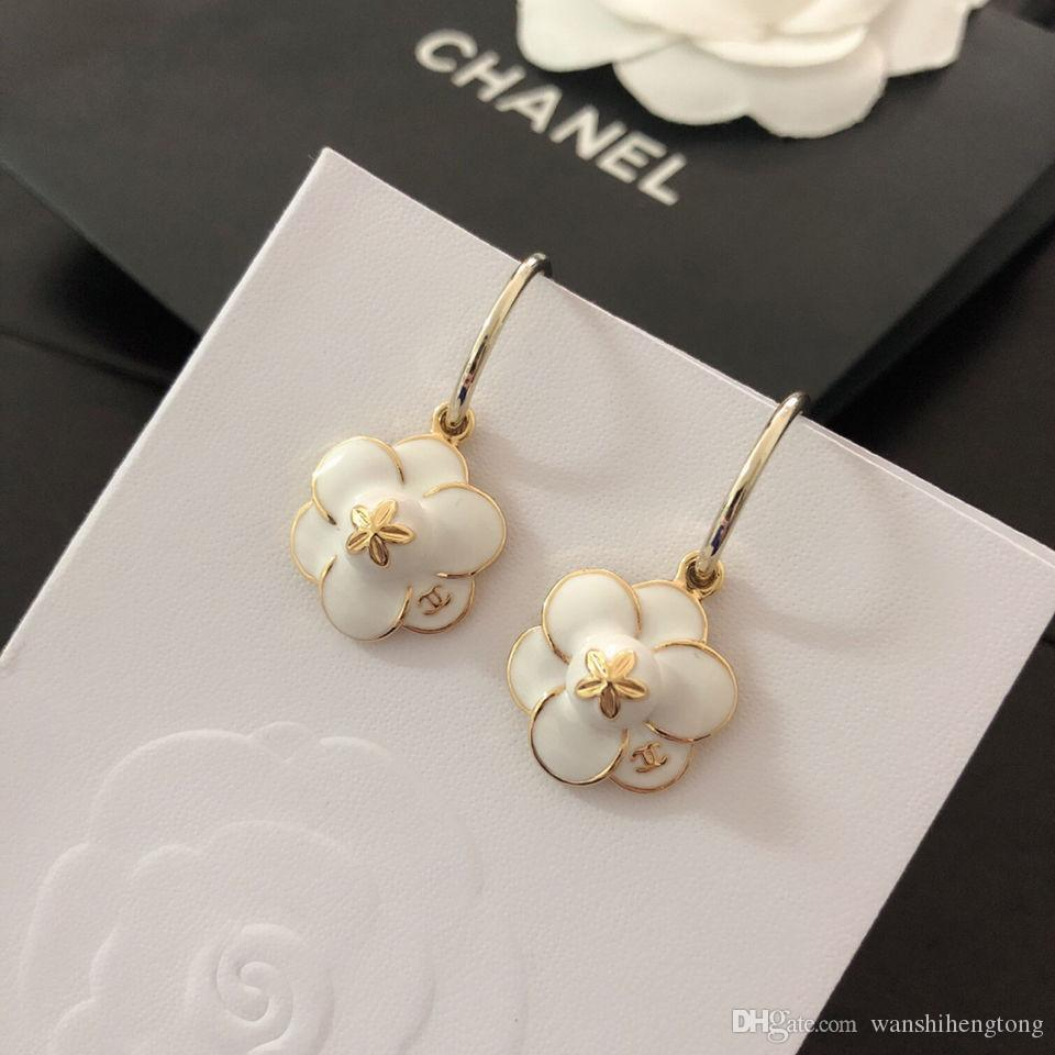 Luxury women's brand 925 silver needle earrings camellia ear hooks Camellia with pure white glaze three-dimensional petals / wedding dress j