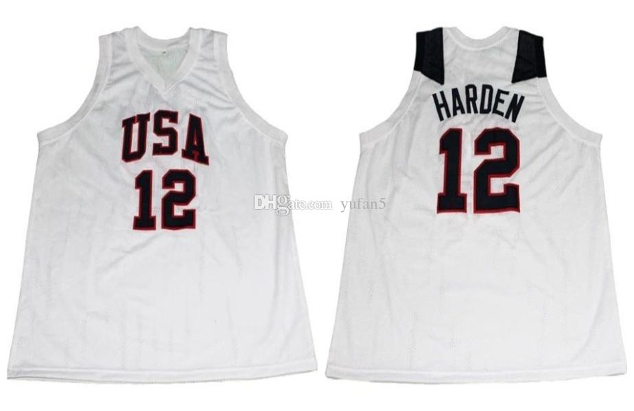 watch 182ca f008a James Harden #12 Team USA Retro Basketball Jersey Men's Stitched Custom Any  Number Name Jerseys